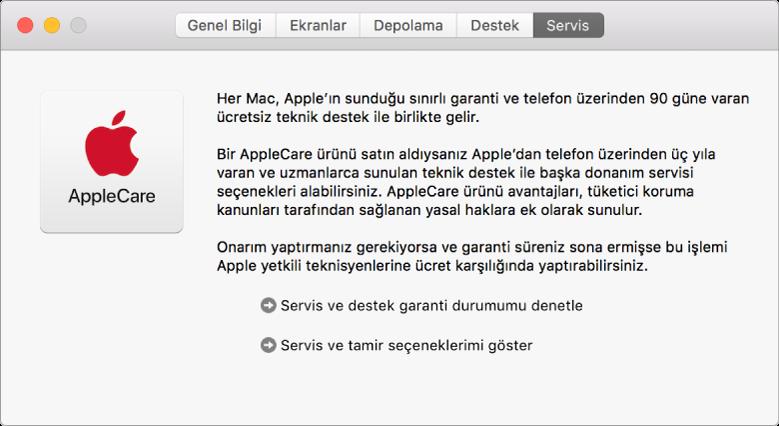 Sistem Bilgileri'nde Servis bölümünde AppleCare servis seçenekleri gösteriliyor.