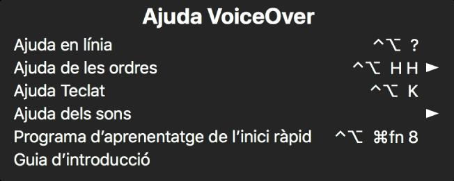 El menú Ajuda VoiceOver és un tauler que mostra una llista, de dalt a baix, de: Ajuda en línia, Ajuda de les ordres, Ajuda Teclat, Ajuda dels sons, Programa d'aprenentatge de l'inici ràpid i Guia d'introducció. A la dreta de cada ítem hi ha l'ordre de VoiceOver que mostra l'ítem o una fletxa per accedir a un submenú.