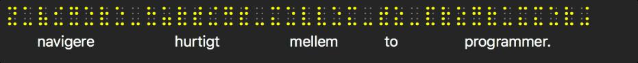 Braillevinduet viser simulerede gule braillepunkter. Tekst under punkterne viser det, som VoiceOver læser op i øjeblikket.