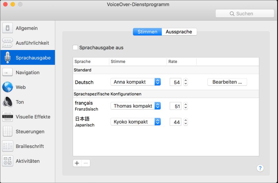 """Der Bereich """"Stimmen"""" des VoiceOver-Dienstprogramms zeigt Stimmeneinstellungen für Englisch, Französisch und Japanisch."""