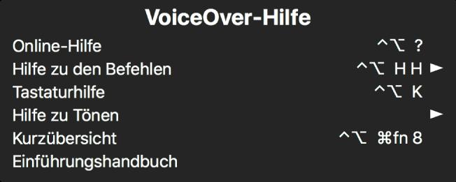 Das VoiceOver-Hilfemenü ist ein Bereich, in dem Folgendes von oben nach unten aufgelistet wird: Online-Hilfe, Hilfe zu Befehlen, Tastaturhilfe, Hilfe zu Tönen, Kurzübersicht und Einführungshandbuch. Rechts neben jedem Objekt befindet sich der VoiceOver-Befehl, der das Objekt anzeigt, bzw. ein Pfeil, der zu einem Untermenü führt.