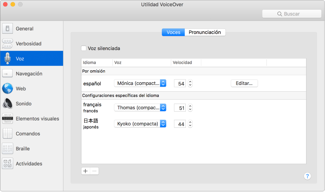 Panel Voces de Utilidad VoiceOver mostrando la configuración de las voces para los idiomas inglés, francés y japonés.