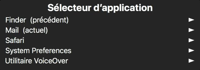 La sous-fenêtre Sélecteur d'application affiche les applications actuellement ouvertes. Une flèche apparaît à droite de chaque élément de la liste.