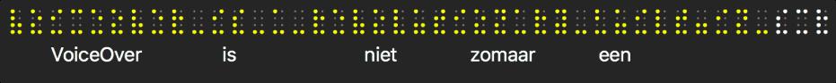 Op het braillepaneel zie je gesimuleerde, gele braillepunten; de tekst onder de punten is de tekst die VoiceOver uitspreekt.