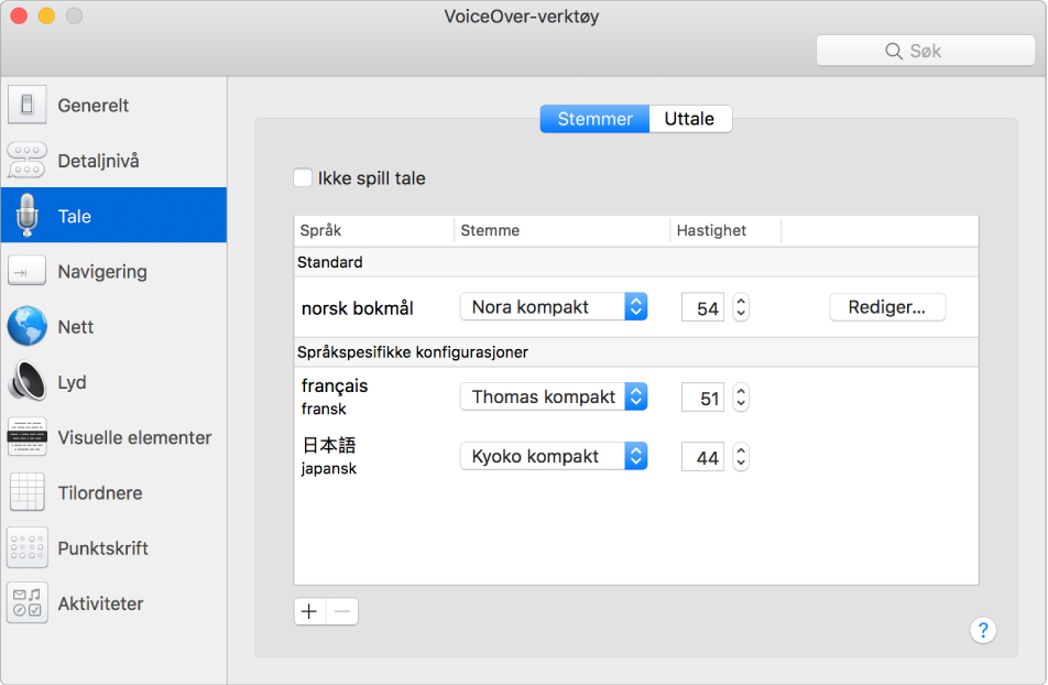 Stemmer-panelet i VoiceOver-verktøy som viser stemmeinnstillinger for engelsk, fransk og japansk.