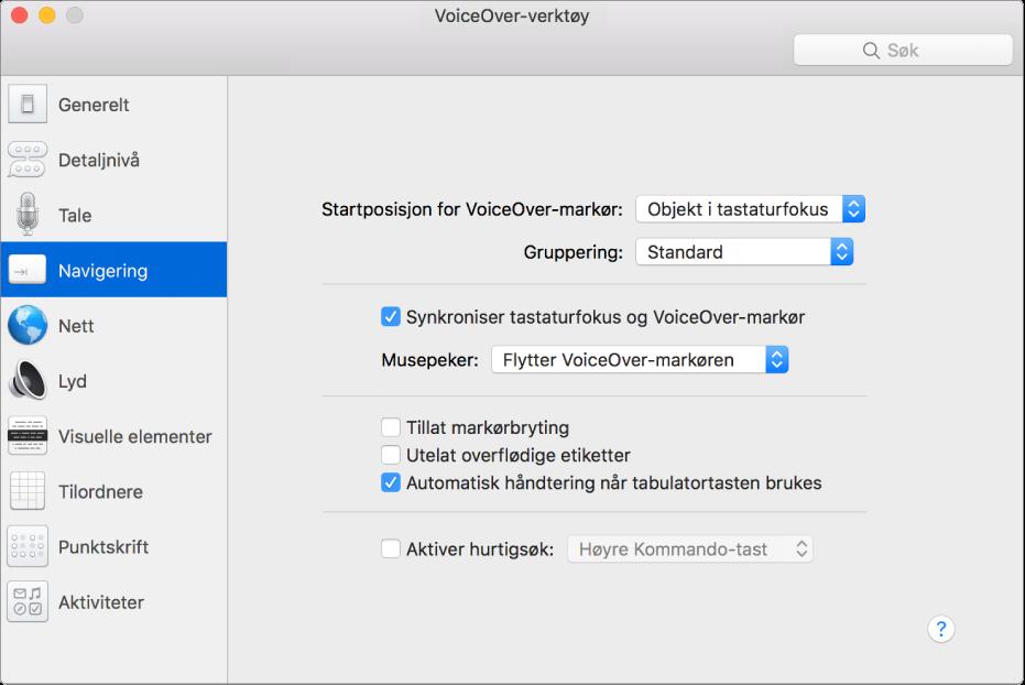 VoiceOver-verktøy-vinduet som viser Navigering-kategorien markert i sidepanelet til venstre og alternativene til høyre. Nederst i det høyre hjørnet i vinduet er en Hjelp-knapp som viser den elektroniske VoiceOver-hjelpen om valgene.