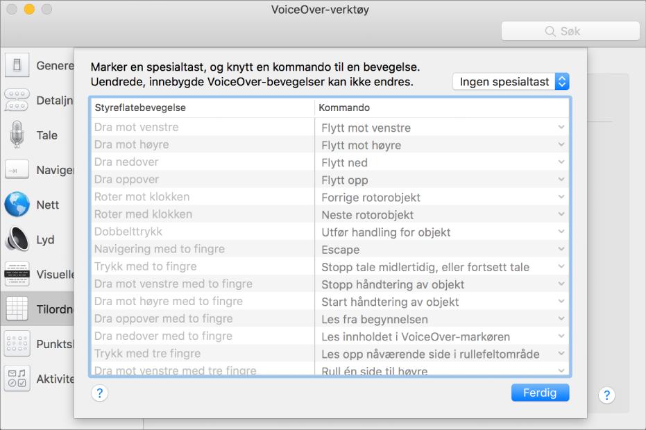En liste med VoiceOver-bevegelser og tilhørende kommandoer vist i Styreflatetilordner i VoiceOver-verktøy.