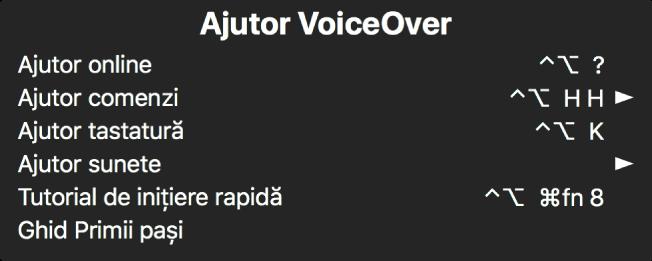 Meniul Ajutor VoiceOver este un panou care listează, de sus în jos: Ajutor online, Ajutor comenzi, Ajutor tastatură, Ajutor sunete, Tutorial de inițiere rapidă și Ghid Primii pași. În dreapta fiecărui articol apare comanda VoiceOver care afișează articolul sau o săgeată pentru accesarea unui submeniu.