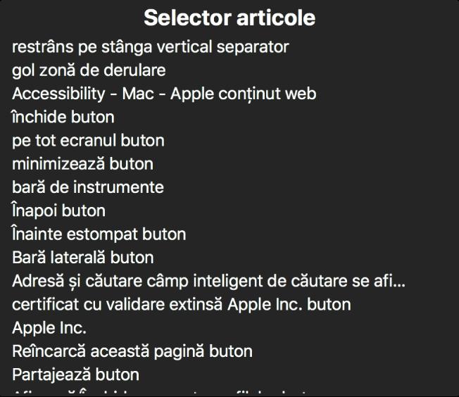 Selectorul de articole este un panou care listează, printre altele, articole precum o zonă de derulare goală, butonul de închidere, bara de instrumente și butonul Partajează.