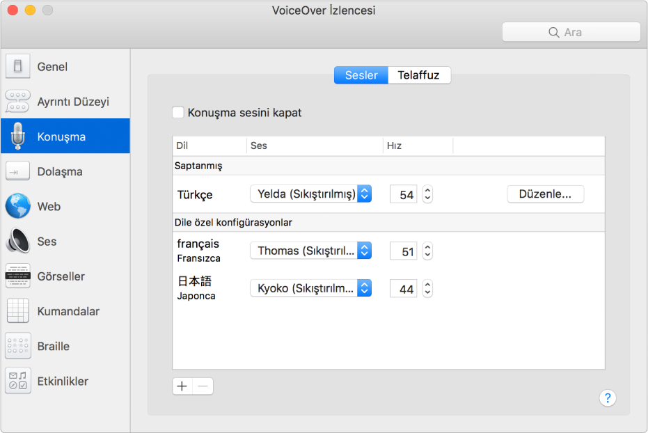 VoiceOver İzlencesi'nin; İngilizce, Fransızca ve Japonca dilleri için ses ayarlarını gösteren Sesler bölümü.