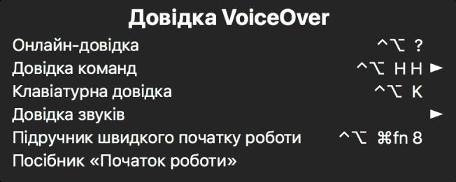 Меню Довідки VoiceOver це панель зі списком, з гори до низу: Онлайн-довідка, Довідка команд, Клавіатурна довідка, Довідка звуків, Підручник швидкого початку роботи і Посібник «Початок роботи». Справа від кожного елемента розміщено команду VoiceOver, яка відображає елемент або стрілочку для доступу до підменю.