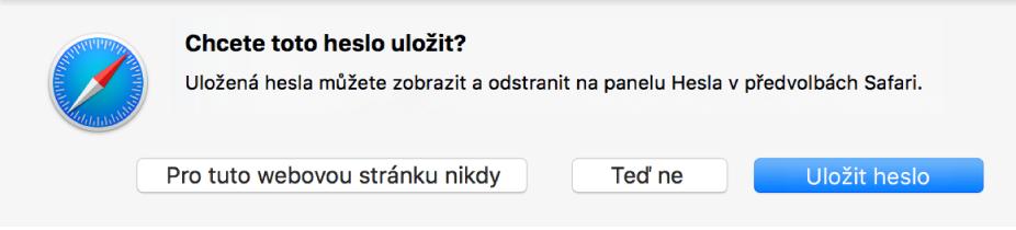 Dialogové okno sžádostí opotvrzení, zda se má uložit heslo