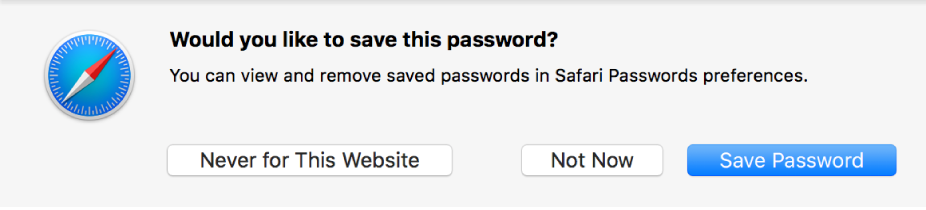 Dialog window asking for confirmation to save a password.