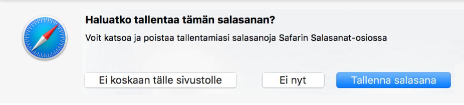 Valintaikkuna, jossa pyydetään vahvistamaan salasanan tallentaminen.