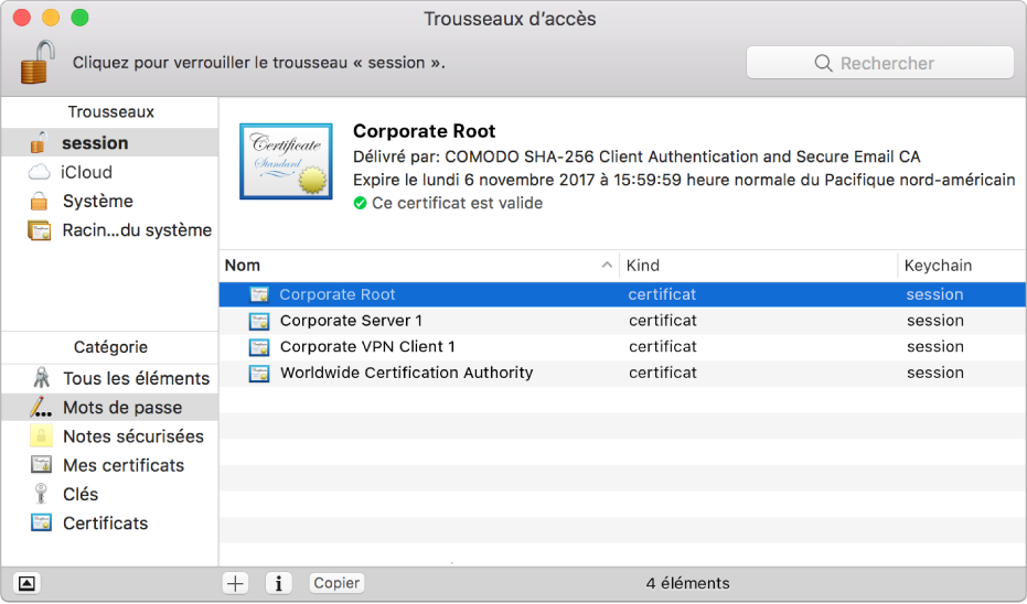 Fenêtre Trousseaux d'accès affichant des certificats.