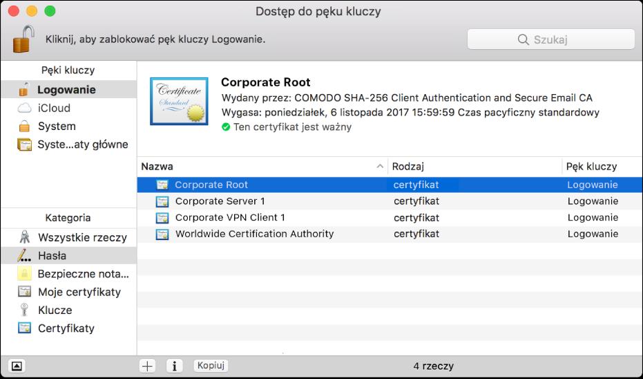 Okno Dostępu do pęku kluczy zwidocznymi certyfikatami.