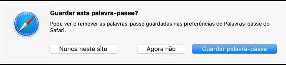Caixa de diálogo a pedir para confirmar se a palavra-passe deve ser guardada.
