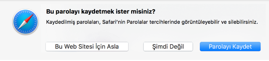 Bir parolayı kaydetme onayının sorulduğu sorgu penceresi.
