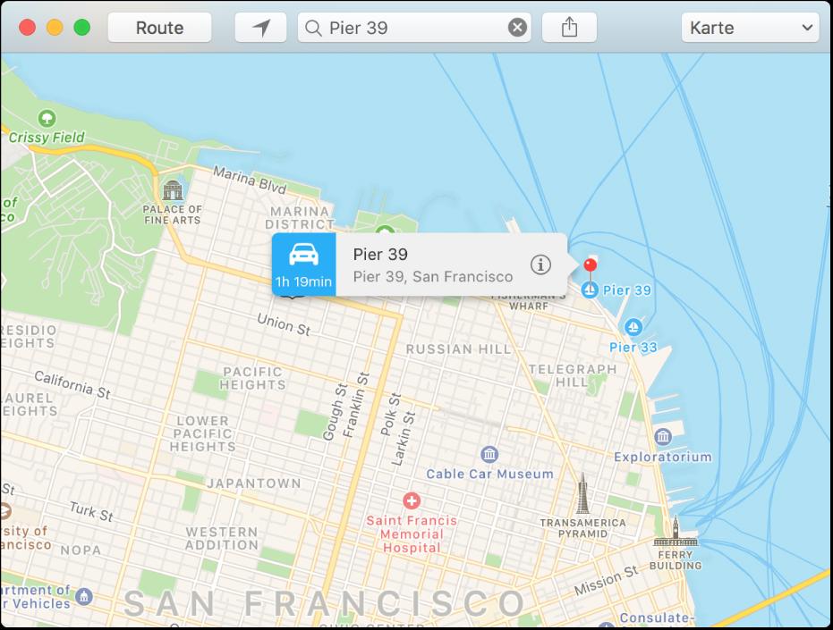 Das Infofenster für eine Stecknadel auf der Karte zeigt die Adresse des Ortes sowie die geschätzte Wegzeit von deinem Standort aus an.