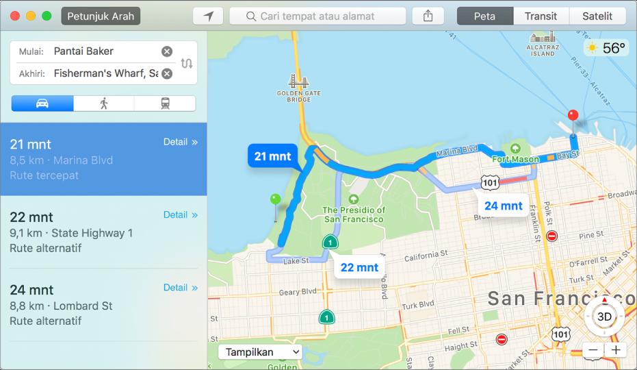 Jendela Peta menampilkan rute ke tujuan.