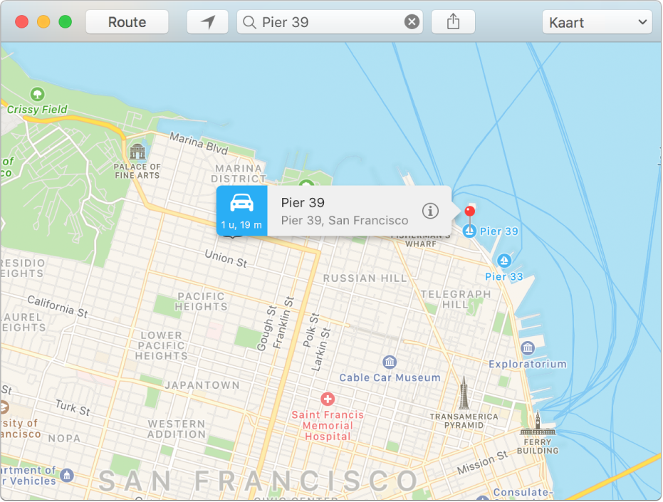 Het infovenster bij een speld op de kaart, met daarin het adres van de locatie en de geschatte reistijd vanaf de huidige locatie.