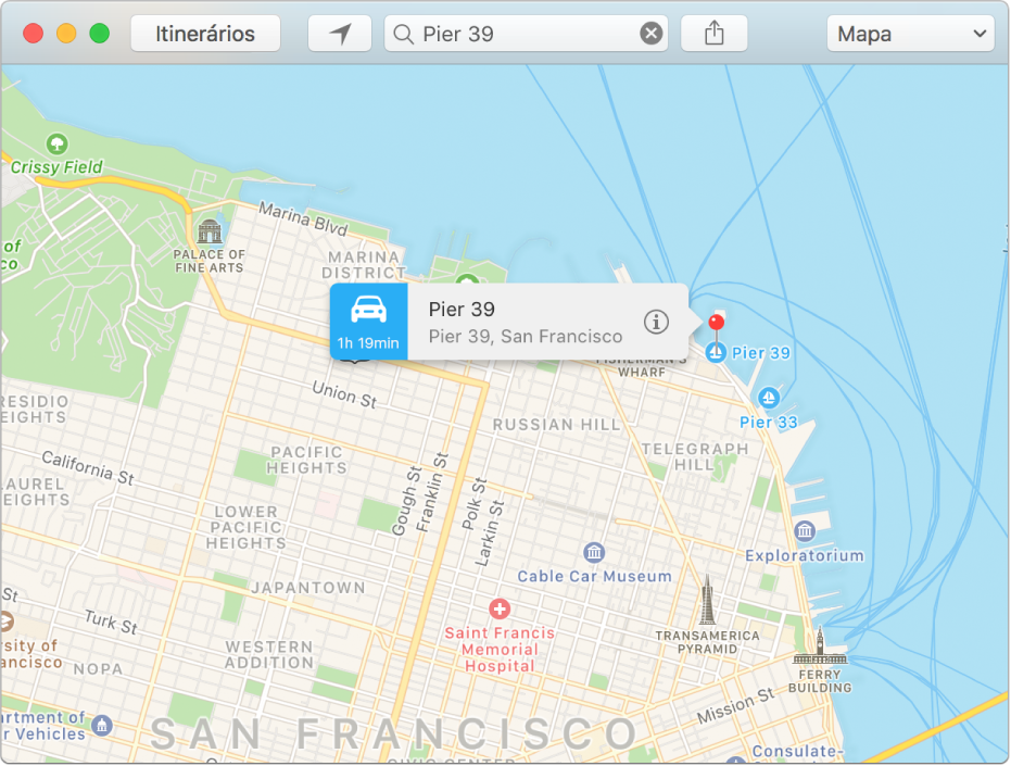 Janela de informações de um alfinete no mapa mostrando o endereço do local e o tempo estimado do percurso.