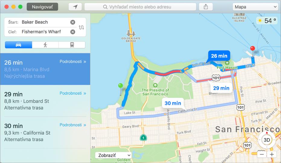 Okno aplikácie Mapy zobrazujúce trasu do cieľa.