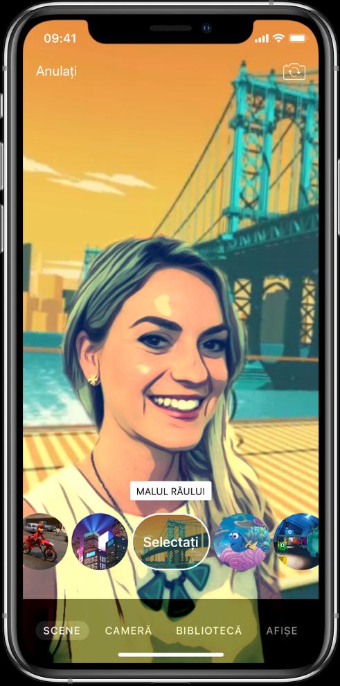 O scenă Selfie apare în vizualizor.