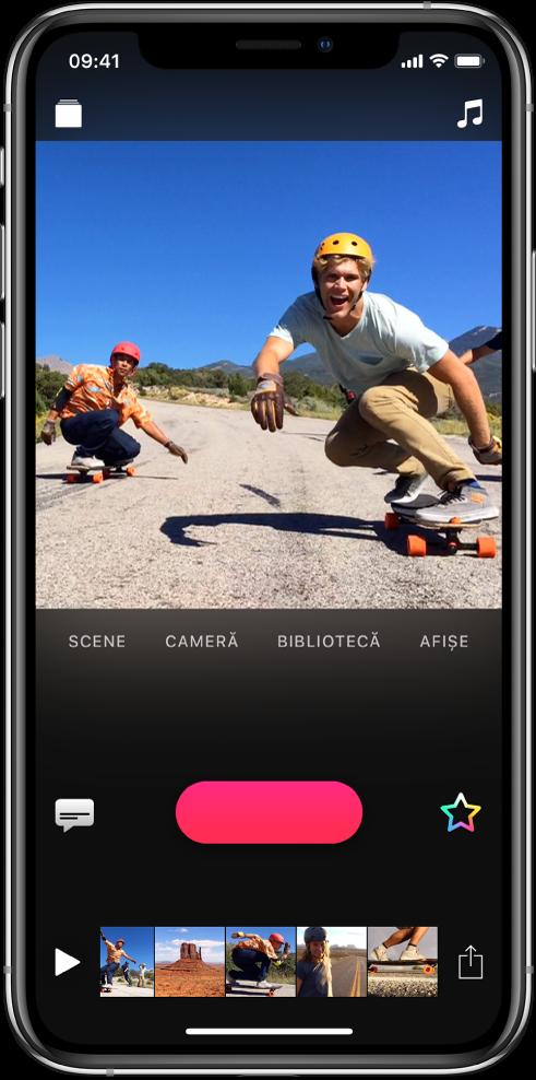 O imagine video apare în vizualizor, cu butonul Înregistrați dedesubt.