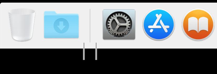 الخط الفاصل بين التطبيقات والملفات والمجلدات في الـDock.