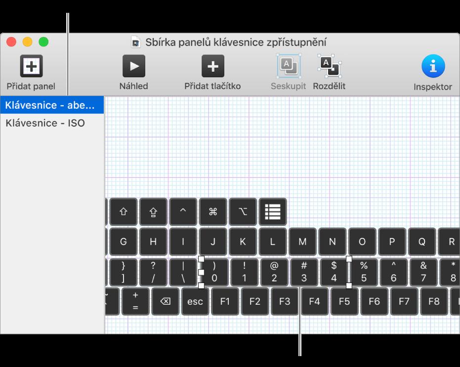 Část okna se sbírkou panelů, kde je nalevo vidět seznam panelů klávesnice anapravo tlačítka askupiny na panelu.