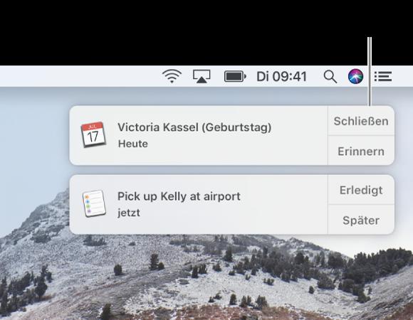 """Mitteilungen der Apps """"Kalender"""" und """"Erinnerungen"""" oben rechts auf dem Bildschirm"""