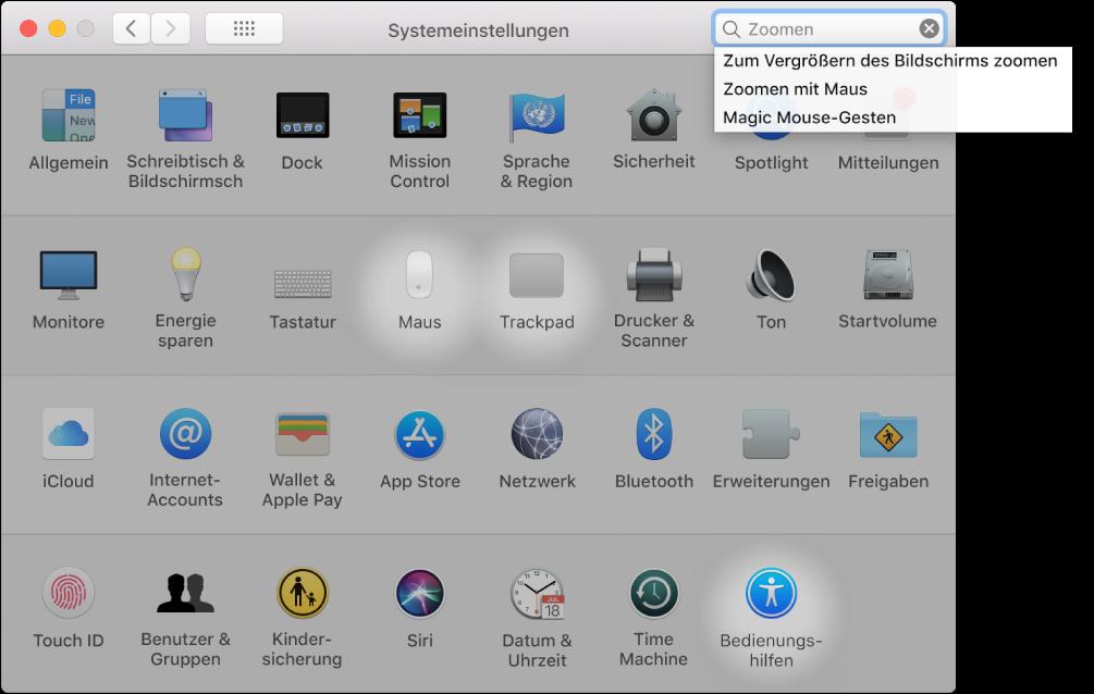 """Fenster """"Systemeinstellungen"""" mit """"Zoom"""" im Suchfeld, einer Liste passender Suchergebnisse unter dem Suchfeld und drei hervorgehobenen Symbolen."""