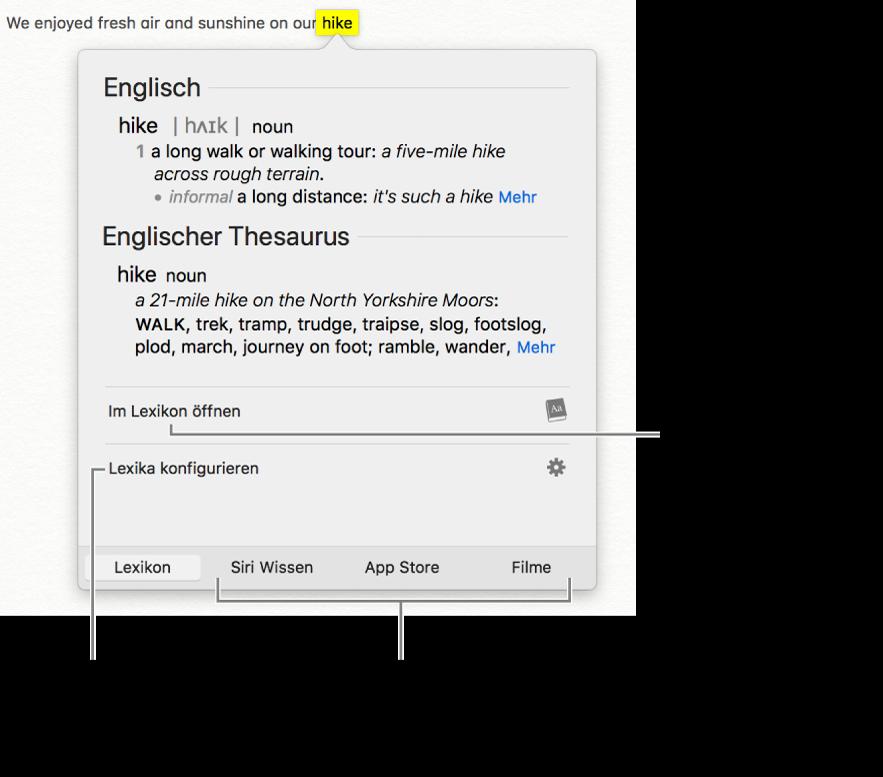 """Das Fenster """"Nachschlagen"""" mit Definition für ein Wort aus Lexikon und Thesaurus"""