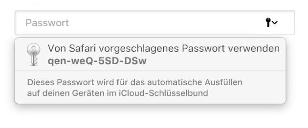 Ein vorgeschlagenes Passwort von Safari mit dem Hinweis, dass es im iCloud-Schlüsselbund des Benutzers gesichert und zum automatischen Ausfüllen auf den Geräten des Benutzers verfügbar sein wird.