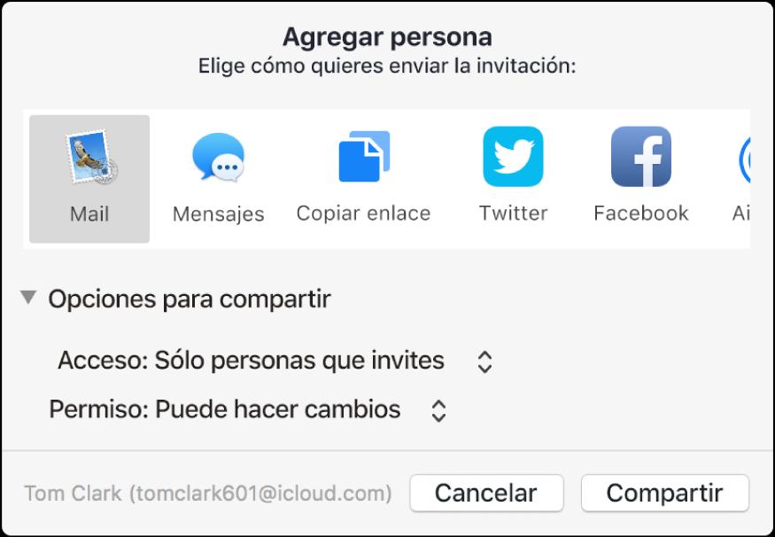 """Ventana """"Agregar personas"""" mostrando las apps que puedes usar para hacer invitaciones y las opciones para compartir documentos."""