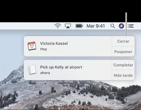 Las notificaciones de las apps Calendario y Recordatorios en la esquina superior derecha de la pantalla.