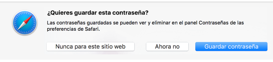 Cuadro de diálogo preguntando si quieres guardar la contraseña para un sitio web.