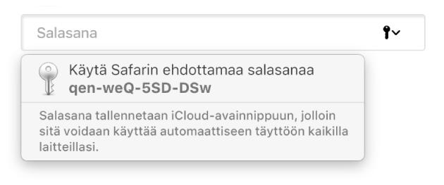 Ehdotettu salasana Safarista ja teksti, että se tallennetaan käyttäjän iCloud-avainnippuun ja on käytettävissä käyttäjän muilla laitteilla.