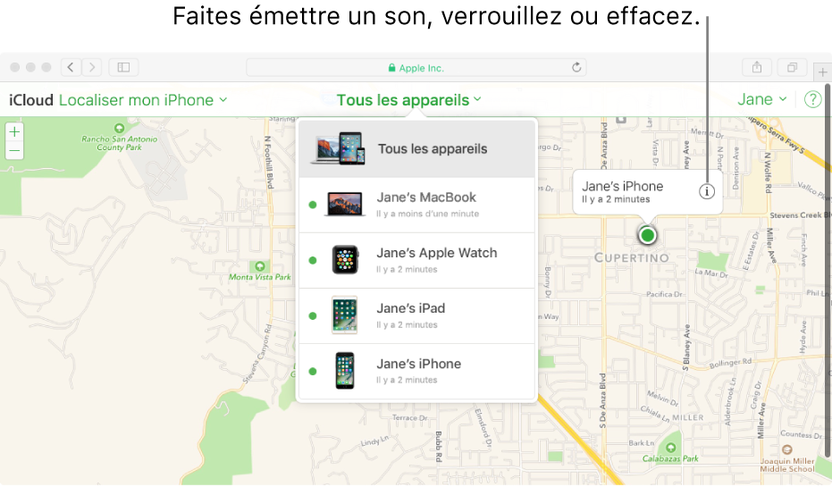Plan dans Localiser mon iPhone sur iCloud.com indiquant l'emplacement d'un Mac.
