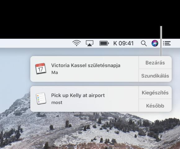 A Naptár és Emlékeztetők alkalmazások értesítései a képernyő jobb felső sarkában jelennek meg.