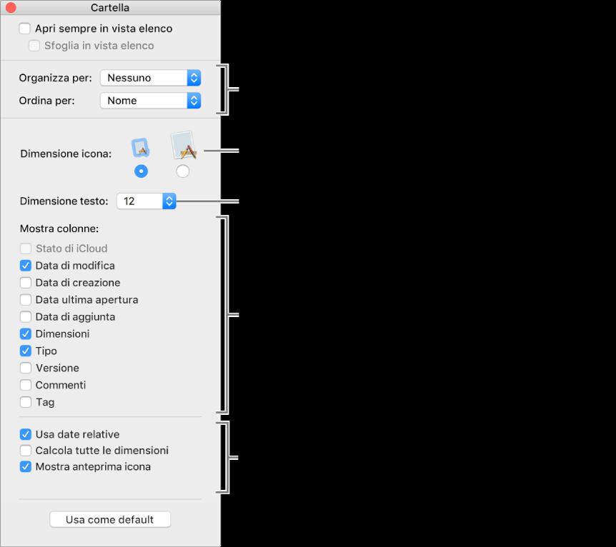 Una finestra che elenca le opzioni per le viste Elenco e Cover Flow.