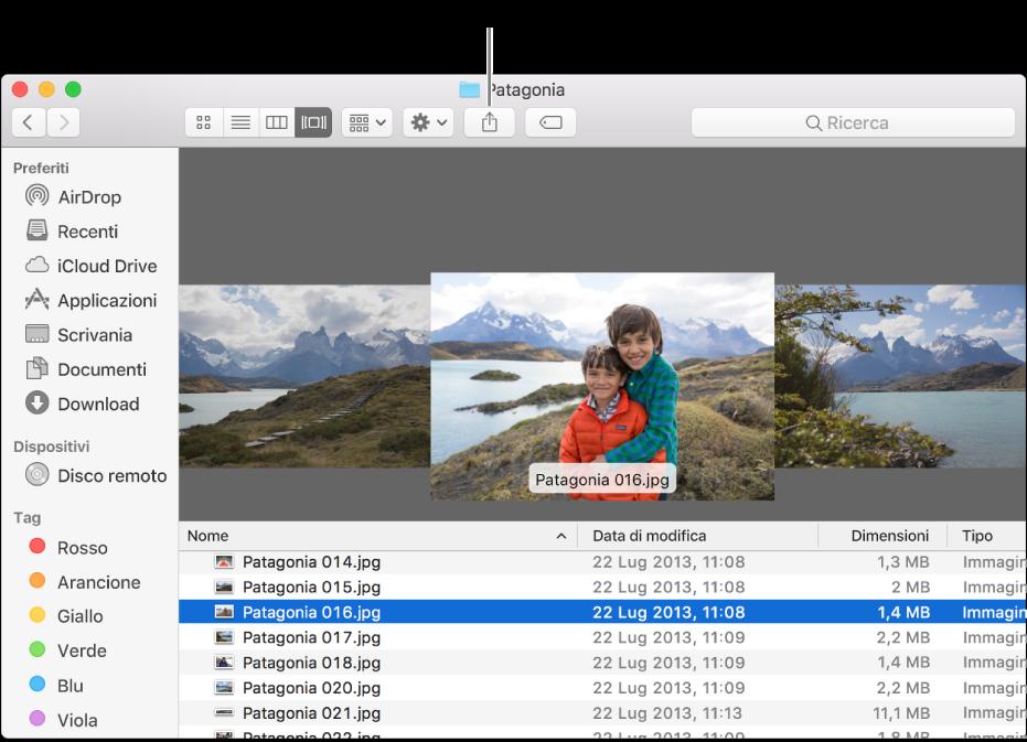 Il pulsante Condividi nella barra degli strumenti della finestra del Finder.