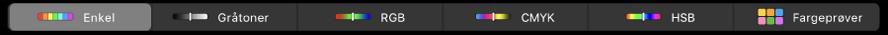Touch Bar som viser fargemodeller – fra venstre mot høyre – Enkel, Gråskala, RGB, CMYK og HSB. Fargeprøver-knappen er i høyre ende.