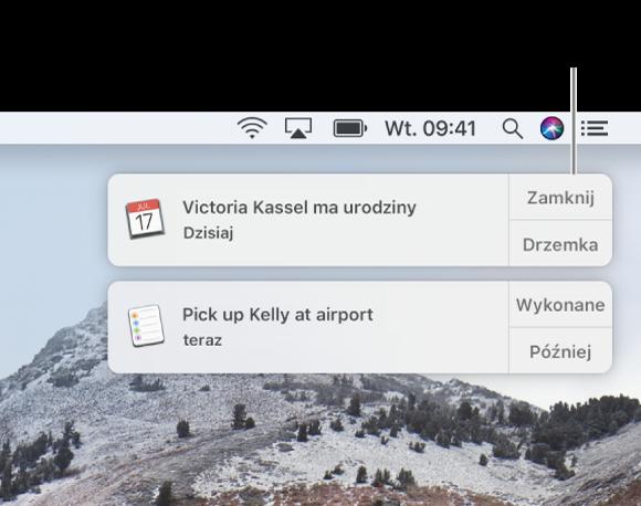 Powiadomienia zaplikacji Kalendarz iPrzypomnienia, wyświetlane wprawym górnym rogu ekranu.