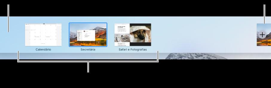 Barra do Spaces ilustrando um espaço de secretária, aplicações em ecrã completo e vista dividida e o botão Adicionar para criar um espaço.