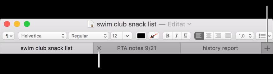 O fereastră TextEdit cu trei file în bara de file, situată sub bara de formatare. O filă afișează butonul Închide. Butonul Adaugă este situat la capătul din dreapta al barei de file.