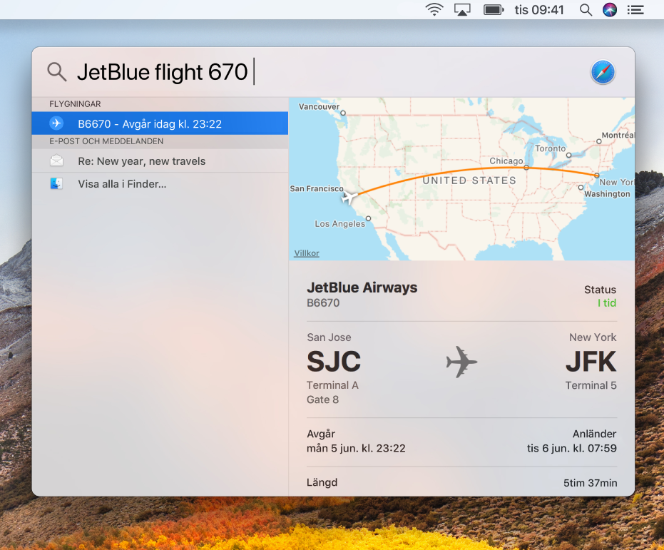Spotlight-fönstret som visar träffar med flyginformation.