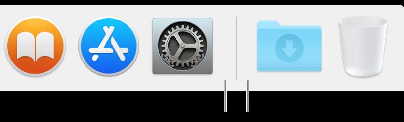 ตัวแบ่งบรรทัดที่อยู่ระหว่างแอพและไฟล์ และโฟลเดอร์บน Dock