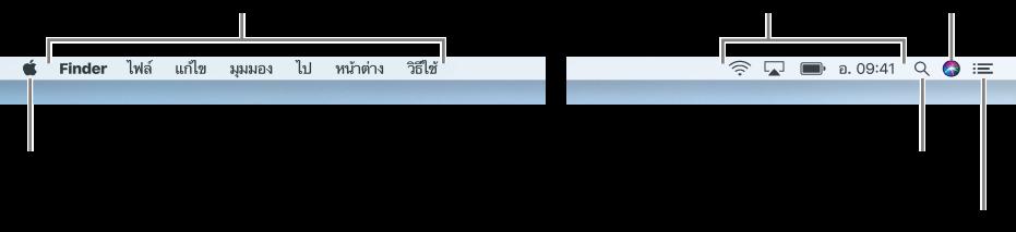 แถบเมนูทางด้านซ้ายคือเมนู Apple และเมนูแอพทางด้านขวาคือเมนูแสดงสถานะ และ ไอคอน Spotlight ไอคอน Siri และไอคอนศูนย์การแจ้งเตือน